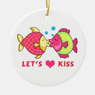 LETS KISS Double-Sided CERAMIC ROUND CHRISTMAS ORNAMENT