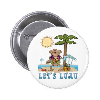 Lets Luau (Boy Monkey) Pinback Button