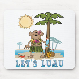 Lets Luau (Girl Monkey) Mouse Pads