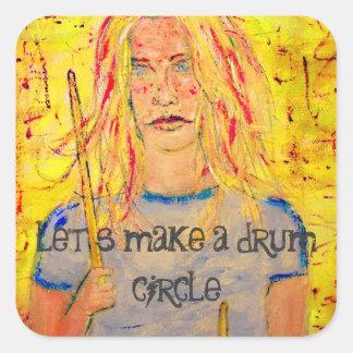 let's make a drum circle square sticker