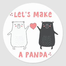 let's make a panda classic round sticker