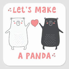 let's make a panda square sticker