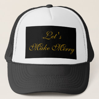 """Let's Make Merry"" Gold/Black Xmas Holiday Design Trucker Hat"