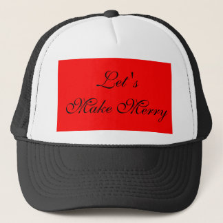 """Let's Make Merry"" Red/Black Xmas Holiday Design Trucker Hat"
