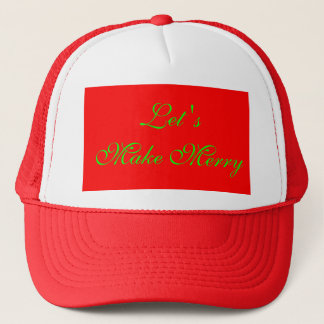"""Let's Make Merry"" Red/Green Xmas Design Trucker Hat"