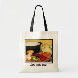 Let's make vegetable soup! tote bag