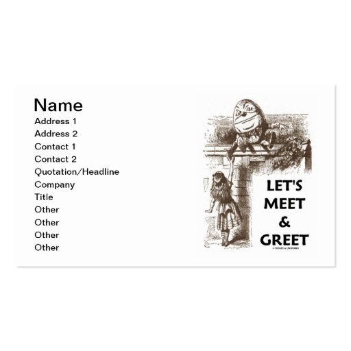 Let's Meet & Greet Alice Humpty Dumpty Wonderland Double-Sided Standard Business Cards (Pack Of 100)