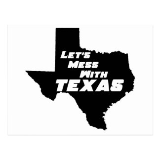 Let's Mess With Texas Black Post Card