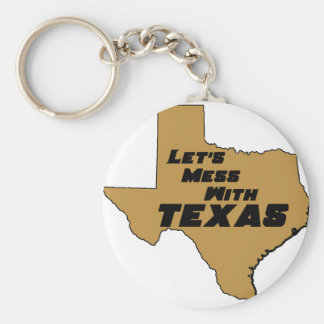 Let's Mess With Texas Brown Keychain