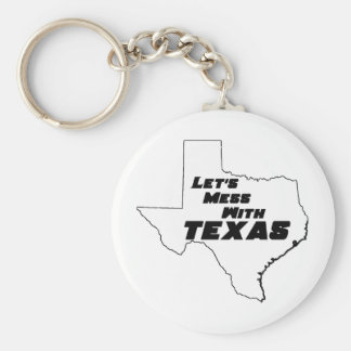 Let's Mess With Texas White Key Chain