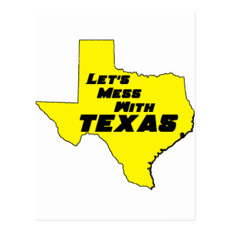Let's Mess With Texas Yellow Postcard