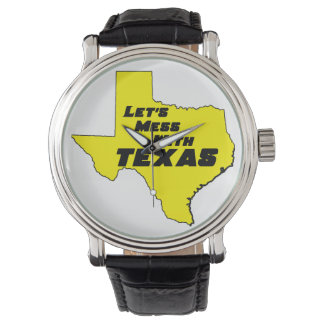 Let's Mess With Texas Yellow Wrist Watches