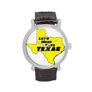 Let's Mess With Texas Yellow Wristwatches