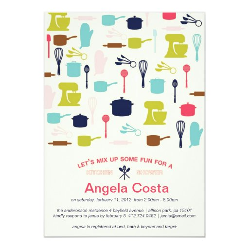 Let's Mix Up Some Fun - Kitchen Bridal Shower 5x7 Paper Invitation Card