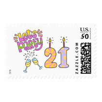 Let's Party! 21st Birthday Postage