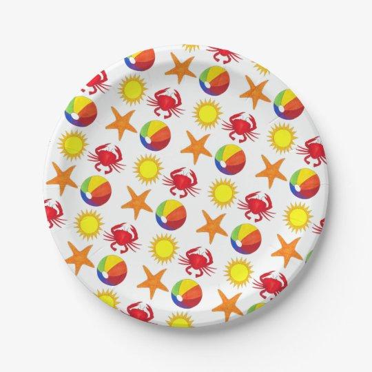 let s party beach crab starfish beachball sun paper plate zazzle com