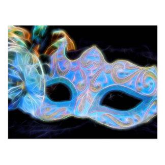 Let's Party Blue Venetian Mask Postcard