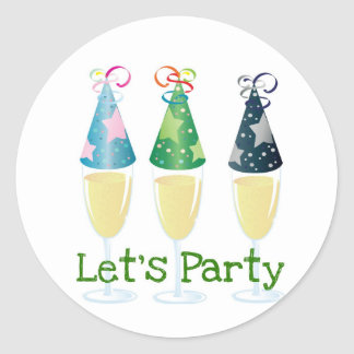 LET'S PARTY CHAMPAGNE PARTY HATS PRINT ROUND STICKER