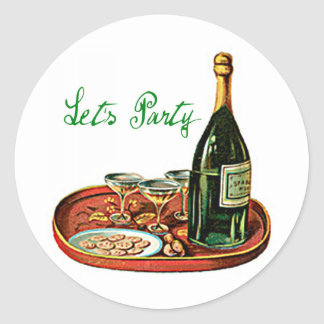 LETS PARTY CHAMPAGNE VINTAGE PRINT ROUND STICKER