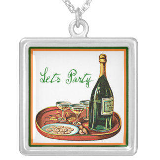 LETS PARTY CHAMPAGNE VINTAGE PRINT SILVER PLATED NECKLACE