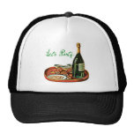 LETS PARTY CHAMPAGNE VINTAGE PRINT TRUCKER HATS