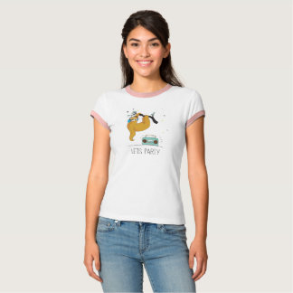"""Let's Party"" Cute Sloth Women's T-Shirt"
