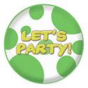 Lets party Green Spots sticker sticker