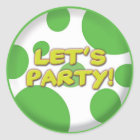 Lets party Green Spots sticker