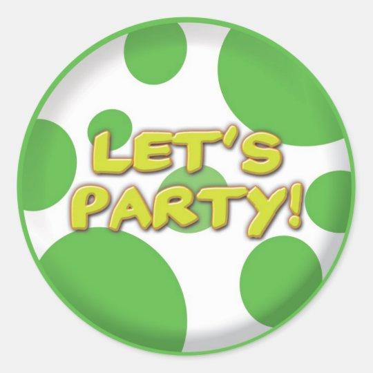 Lets party Green Spots sticker
