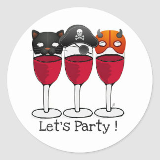 LET'S PARTY HALLOWEEN COSTUME MASKS WINE GLASSES CLASSIC ROUND STICKER