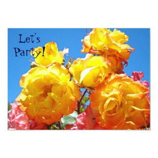 Let's Party! invitations Yellow Orange Rose Flower