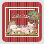 Lets Party On The Farm Square Stickers