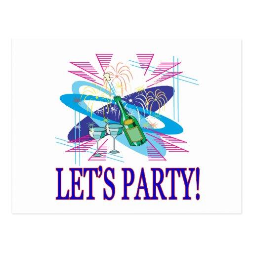 Lets Party Postcard