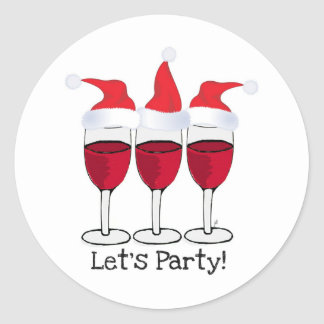 LET'S PARTY RED WINE AND CHRISTMAS HATS PRINT STICKER