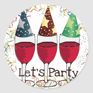 LET'S PARTY RED WINE PARTY HATS PRINT STICKER