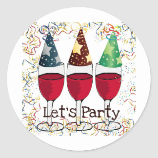 LET'S PARTY RED WINE PARTY HATS PRINT ROUND STICKERS