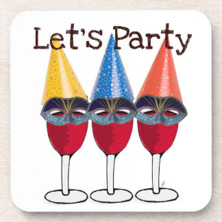 LET'S PARTY RED WINE WITH PARTY HATS PRINT COASTER