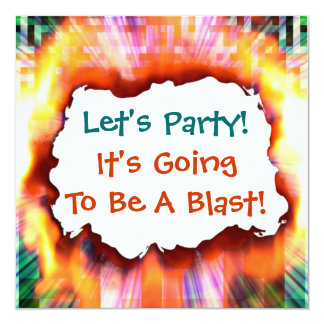 "Let's Party Sizzling Hot Blast Invitation 5.25"" Square Invitation Card"