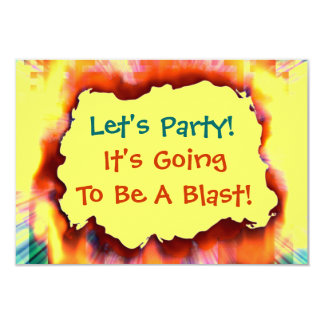 "Let's Party Sizzling Hot Blast Invitation 3.5"" X 5"" Invitation Card"