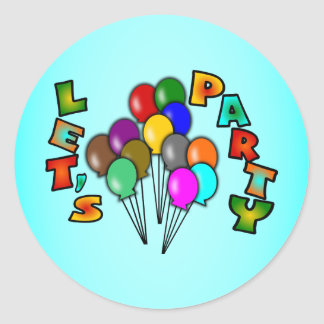 Let's Party With Balloon Bouquets, Multi-Color Classic Round Sticker