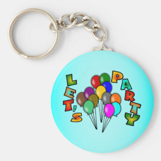 Let's Party With Balloon Bouquets, Multi-Color Keychain