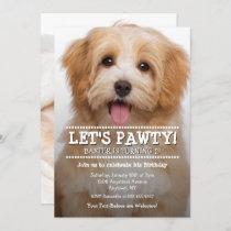 Let's Pawty 2-Photo Pet Birthday Invitation