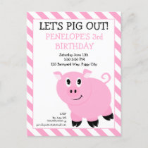 Let's Pig Out Birthday Party Postcard Invitation