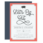 Let's Pig Out Coral Navy I Do BBQ Engagement Party Invitation