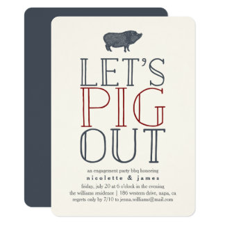 Let's Pig Out | Engagement Party BBQ Invitation
