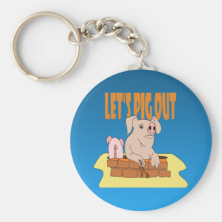 Let's Pig Out Keychain