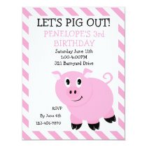 Let's Pig Out Piggy Birthday Party Invitation