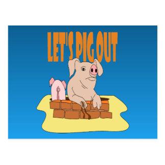 Let's Pig Out Postcard
