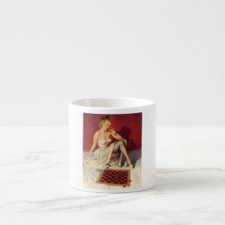 Lets Play a Game - Retro Pinup Girl 6 Oz Ceramic Espresso Cup