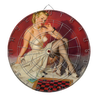 Lets Play a Game - Retro Pinup Girl Dartboard With Darts